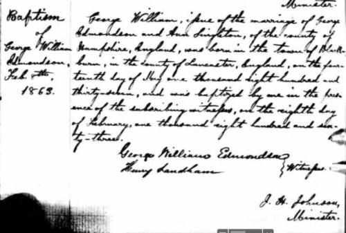 G. W. Edmondson bapteme methodiste montreal